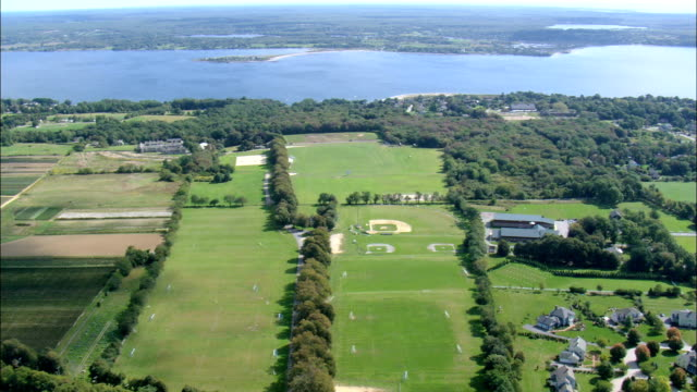 newport polo club  - aerial view - rhode island, newport county, united states - sports field stock videos and b-roll footage