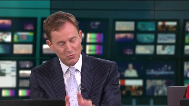 stockvideo's en b-roll-footage met news budget special 2020; england: london: gir: int live studio nina hossain discussion with joel hills and tom clarke sot - itv