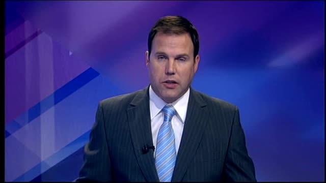stockvideo's en b-roll-footage met news bulletin and stv ident - itv evening bulletin