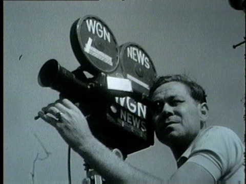 news camera at the 1964 illinois rally for civil rights on june 21 1964 - 1964年点の映像素材/bロール