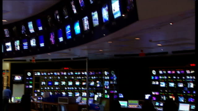 news corporation to be split / rupert murdoch television interview; england: london: isleworth: int sky television control room monitor showing... - control room stock videos & royalty-free footage