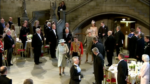 1400 1500 Fanfare and music played as Queen Elizabeth leaves Westminster Hall followed by Prince Charles and Camilla Duchess of Cornwall Prince...