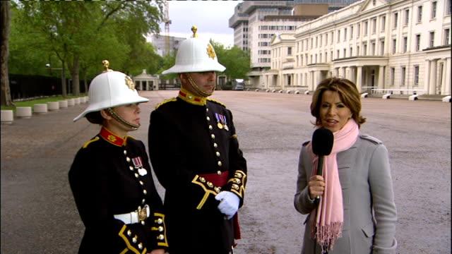 1500 1600 Reporter Natasha Kaplinsky interview with Major Jon Ridley and Sam McIndoe from Royal Marines Band at Wellington Barracks