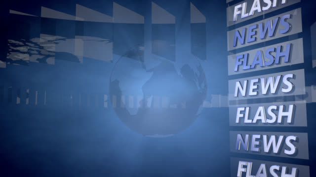 News Flash Hintergrund mit einem rotierenden Globus