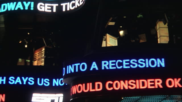 news headlines move across an electronic ticker on the exterior of times square studios. - trading screen stock videos & royalty-free footage