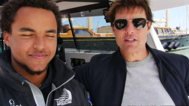 news item concerning tom cruise and his son connor joining team new zealand crew on board america's cup yacht on san francisco harbor in 2013 - 2013 stock videos & royalty-free footage