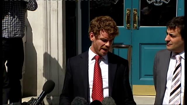 further allegations emerge press conference on behalf of dowler family england london whitehall ext professor brian cathcart martin moore evan harris... - エド ミリバンド点の映像素材/bロール