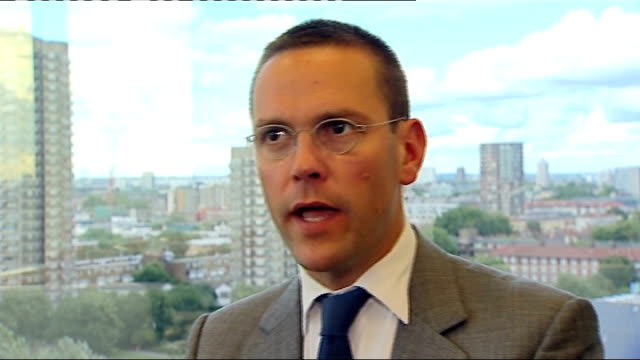 vídeos de stock, filmes e b-roll de news of the world hacking scandal: james murdoch interview; james murdoch interview sot - on whether he was personally aware of alleged phone hacking... - publicação