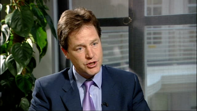 Murdoch abandons BSkyB bid Nick Clegg interview ENGLAND London EXT Nick Clegg MP interview SOT It's being looked at by OFCOM whether that test needs...