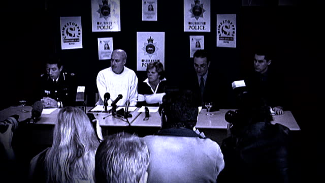 'news of the world' phone hacking scandal grows tx surrey waltononthames sally and robert dowler press conference sot - conference phone stock videos & royalty-free footage