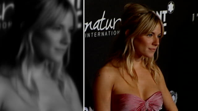 new claims that hacking continues r20020910 usa california los angeles paramount studios sienna miller posing at preoscars party ends - 盗聴点の映像素材/bロール