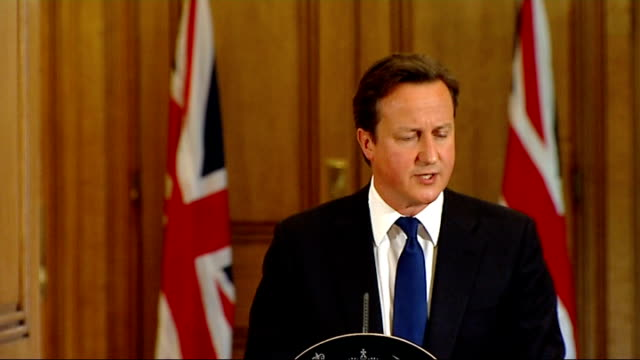news international access to prime minister revealed r08071113 downing street number 10 int david cameron mp press conference sot talks of still... - conference phone stock videos & royalty-free footage