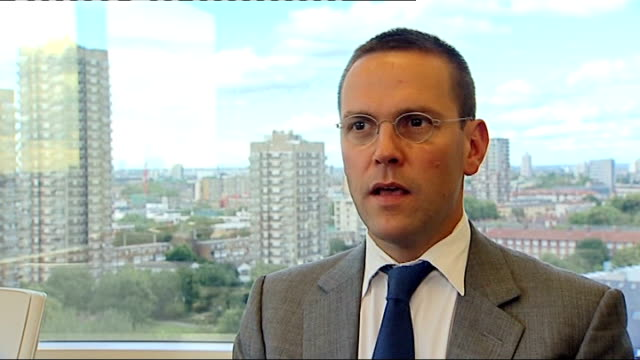 news of the world paper to close england london int james murdoch interview sot fundamentally actions taken a number of years ago by certain... - news of the world stock videos & royalty-free footage