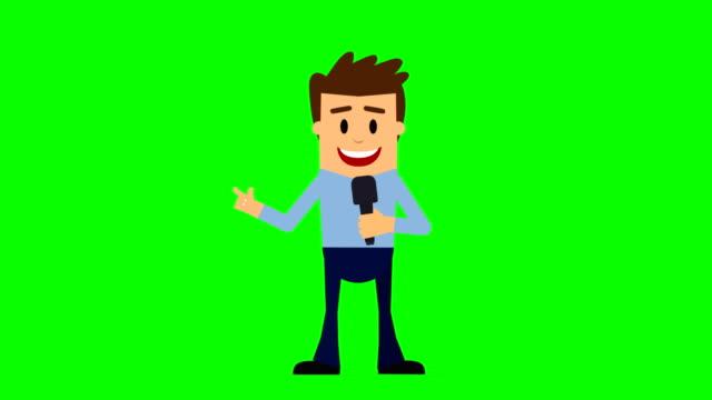 vídeos de stock, filmes e b-roll de apresentador de notícias, animação de desenho animado, chave loopable chroma. - apresentador