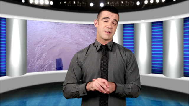 news presenter in studio-screen as background - commentator stock videos & royalty-free footage