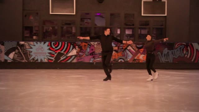 itv news presenter lucrezia millarini prepares for 'dancing on ice' appearance ** music various of lucrezia millarini training with skating partner... - ice skating stock videos & royalty-free footage