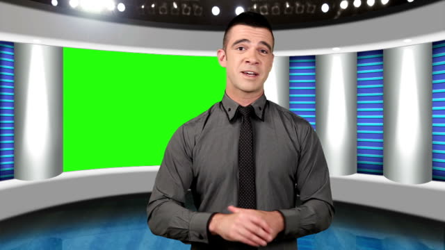 tv news presenter with green screen as background - presenter stock videos & royalty-free footage