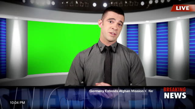 TV news presenter with green screen