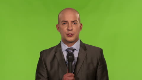 hd: news reporter on the scene - completely bald stock videos & royalty-free footage