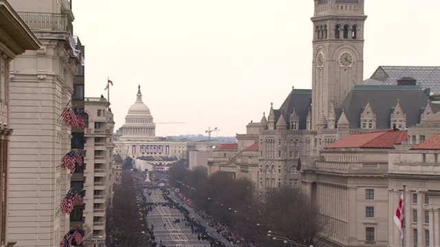 inauguration of president donald trump washington dc view down pennsylvania avenue - inauguration into office stock videos & royalty-free footage