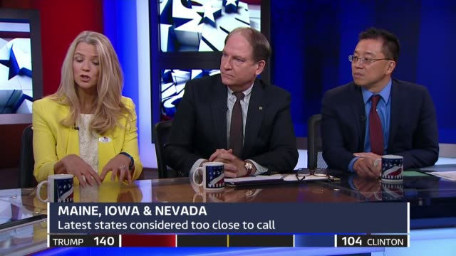 US Presidential Election 2016 0240 0340 Tom Bradby STUDIO panel discussion with guests Professor Charles Tien Dr Catherine Tinsley New York EXT...