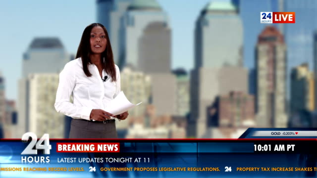 HD: Newscaster Reading Breaking Business News