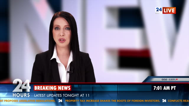 hd: newscaster reading breaking news - breaking news stock videos and b-roll footage