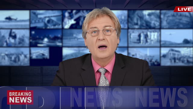 4k newscaster reading the breaking news - press room stock videos & royalty-free footage