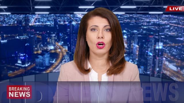 ニュース速報を読む 4 k ニュース キャスター - プレスルーム点の映像素材/bロール