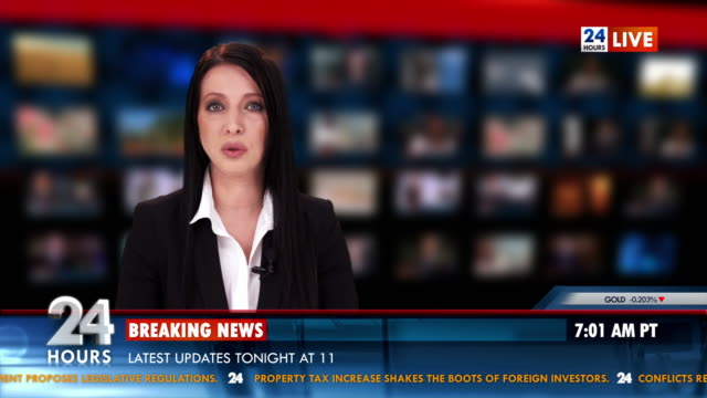 hd: newscaster reading the breaking news - breaking news stock videos and b-roll footage