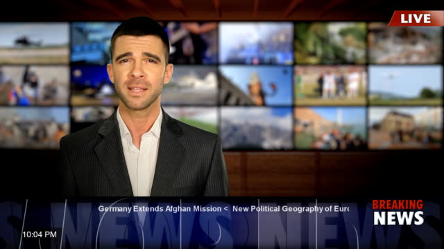 newscaster reading the breaking news - commentator stock videos & royalty-free footage