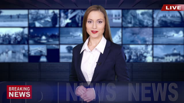 ニュースキャスターリーティングの最新ニュース - 放送点の映像素材/bロール