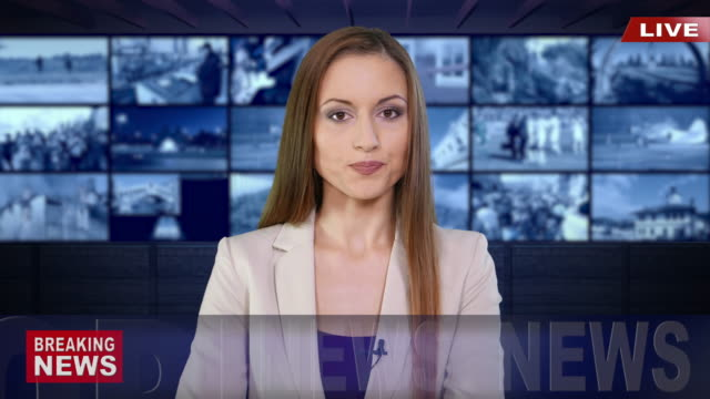 newscaster reading the breaking news - mass media video stock e b–roll