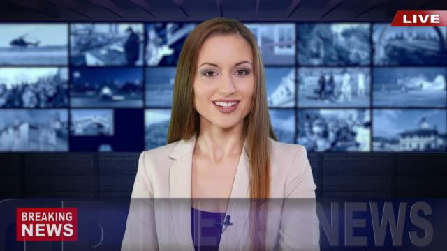 ニュース速報を読む 4 k ニュース キャスター - 政治と行政点の映像素材/bロール