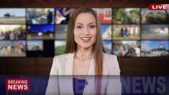 4k newscaster reading the breaking news - press conference stock videos & royalty-free footage