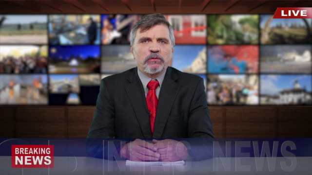 4k newscaster reading the breaking news - mass media video stock e b–roll