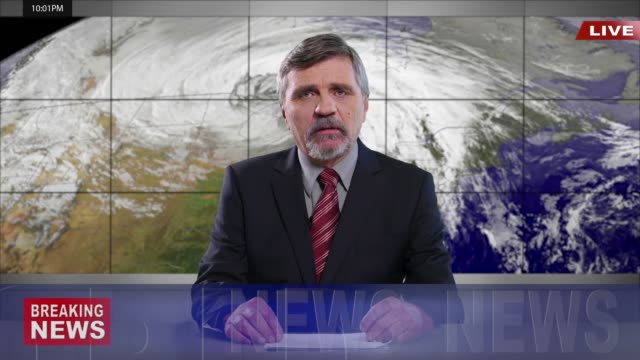 4k newscaster reading the breaking news - breaking news stock videos and b-roll footage