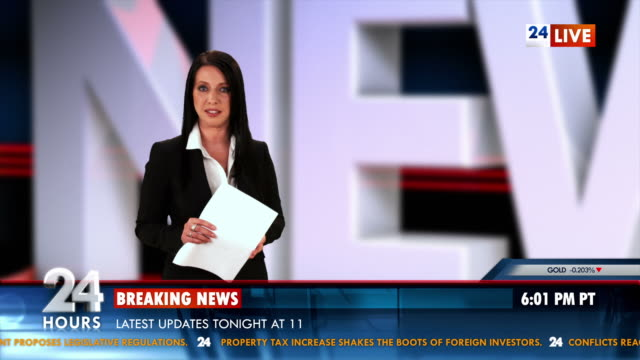 HD: Newscaster Reading The Day's Breaking News