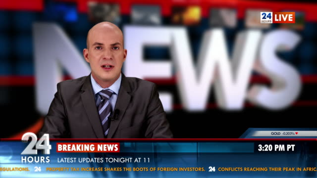HD: Newscaster Reading World Report News