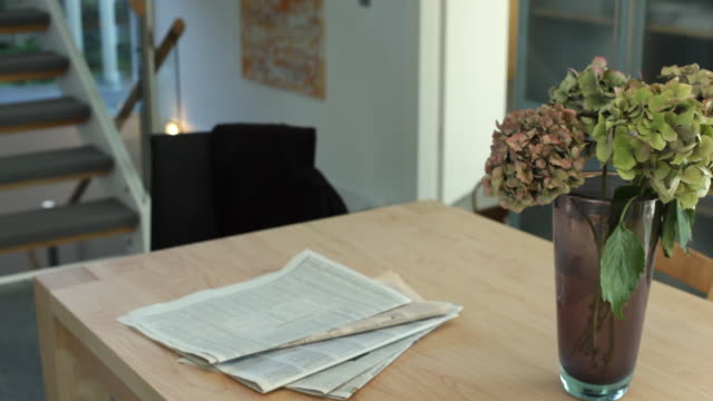 CU ZI ZO Newspaper and flower vase on table / Kleinmachnow, Brandenburg, Germany