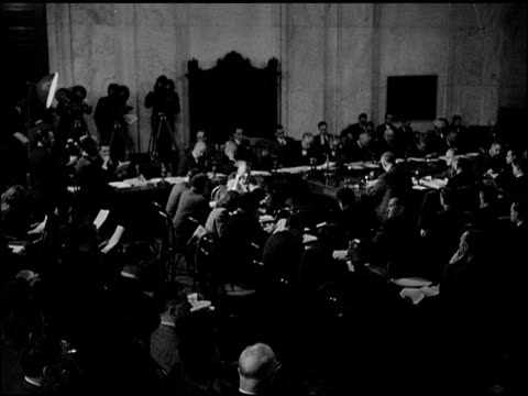 stockvideo's en b-roll-footage met newspaper article header 'congress gathers...' capitol building. senate hearing, sot secretary of state general george c. marshall saying '...the... - 1947