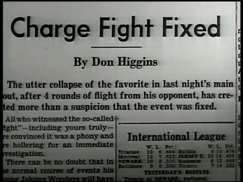 newspaper article title 'charge fight fixed' cu article 'hogan clean up or close up' int restaurant new york post sports columnist jimmy cannon - columnist stock videos & royalty-free footage