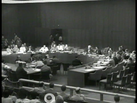 stockvideo's en b-roll-footage met newspaper 'australia bids un java truce' int ws united nations members in session vs australian delegate wr hodgson russia's andrei gromyko amp... - 1900 1909