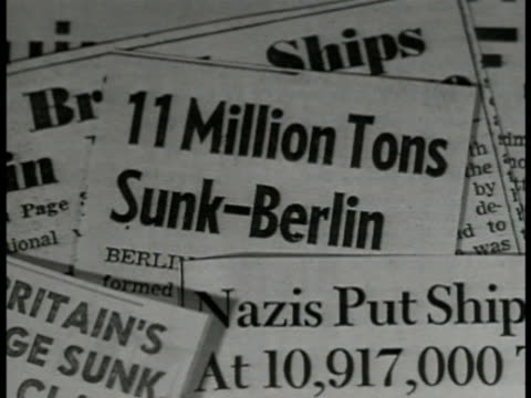 Newspaper clippings '11 Million Tons SunkBerlin' WS Ship building yard WS Workers riveting ship plate MS Incomplete US Bomber airplane taxiing at...