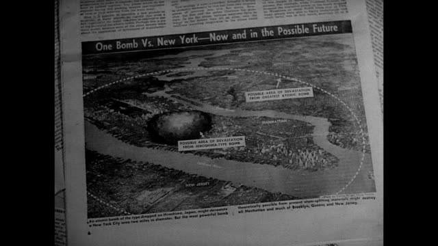 newspaper drawing of new york city & destruction radius from one atomic bomb. city highrise buildings skyline superimposed over explosion of... - atomic bomb stock videos & royalty-free footage