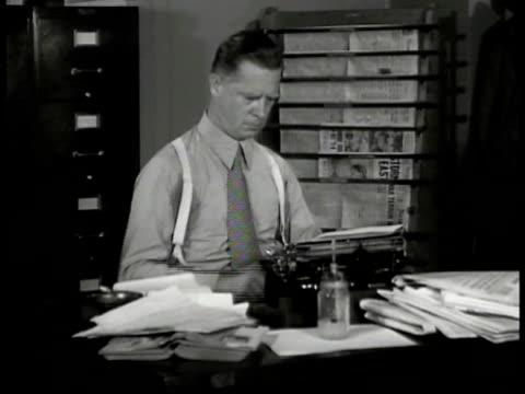 newspaper 'fair enough' int westbrook pegler on typewriter taking puff of cigarette. pegler at desk. newspaper clippings '...racket battle' 'sell... - newspaper strike stock videos & royalty-free footage