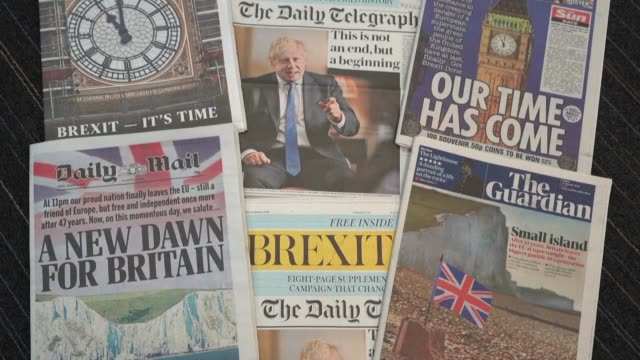 newspaper front pages mark britain's departure from the eu with some like the daily mail heralding a triumphant new dawn for britain and the guardian... - daily mail stock videos & royalty-free footage