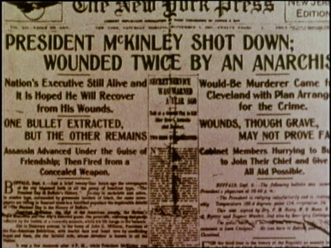 a newspaper headline announces the assassination of us president william mckinley - assassination stock videos & royalty-free footage