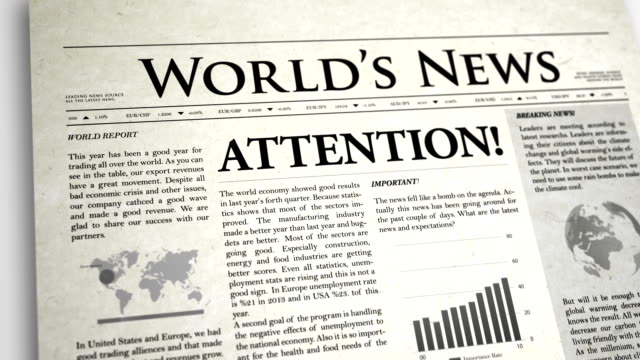 vídeos de stock e filmes b-roll de primeira página de jornal: atenção - ponto de exclamação