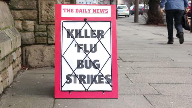 Newspaper Headline Baord - Killer 'Flu bug strikes